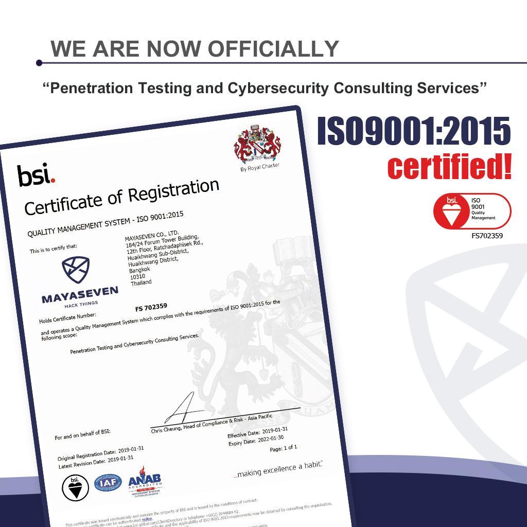 MAYASEVEN CO., LTD. ISO 9001:2015