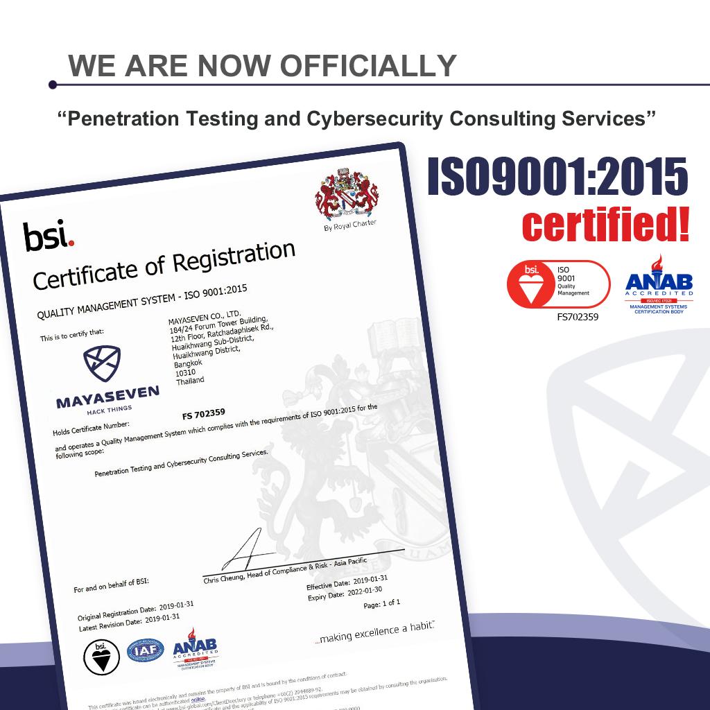 MAYASEVEN ISO 9001:2015